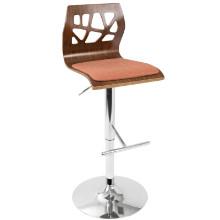 Folia Mid-Century Modern Height Adjustable Barstool In Walnut And Orange With Swivel