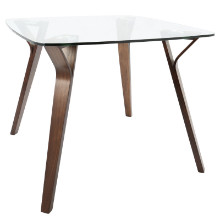 Lumisource DT-FOLIA-WL-CL Folia Mid-Century Modern Dining Table in Walnut and Glass