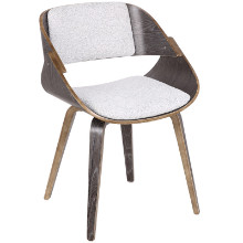 Fortunato Mid-Century Modern Dining/Accent Chair in Dark Grey with White Fabric