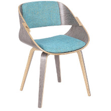 Fortunato Mid-Century Modern Dining/Accent Chair in Light Grey with Aqua Fabric