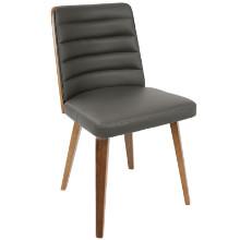 Francesca Mid-Century Modern Chair in Walnut Wood and Grey PU