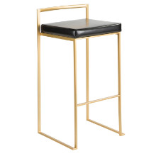 Fuji Contemporary Barstool in Gold and Black PU - Set of 2