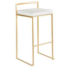 Fuji Contemporary Barstool in Gold and White PU - Set of 2
