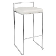 Fuji Stackable Contemporary Barstool - Set Of 2 in White
