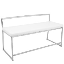 Fuji Contemporary Dining / Entryway Bench in White