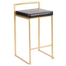 Fuji Contemporary Counter stool in Gold and Black PU - Set of 2