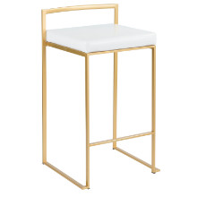 Fuji Contemporary Counter stool in Gold and White PU - Set of 2