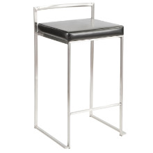 Fuji Stackable Contemporary Counter Stool - Set Of 2 in Black