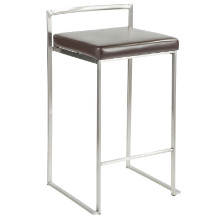 Fuji Stackable Contemporary Counter Stool - Set Of 2 in Brown