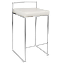 Fuji Stackable Contemporary Counter Stool - Set Of 2 in White