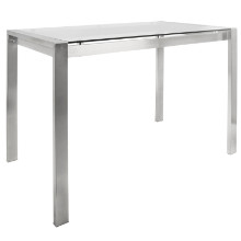 Fuji Contemporary Counter Table in Stainless Steel and Clear Glass