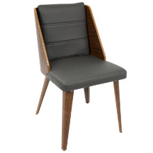 Galanti Mid-Century Modern Dining Chair in Walnut Wood and Grey PU -Set of 2