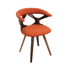 Gardenia Mid-century Modern Chair in Walnut and Orange