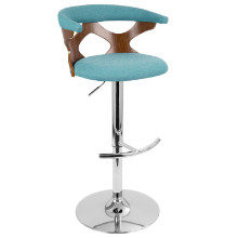 Gardenia Height Adjustable Mid-century Modern Barstool with Swivel in Walnut and Teal