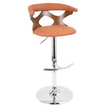 Gardenia Height Adjustable Mid-century Modern Barstool with Swivel in Walnut and Orange