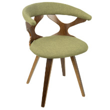 Gardenia Mid-century Modern Chair in Walnut and Green
