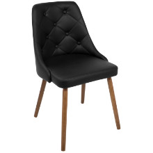 Giovanni Mid-Century Modern Dining Chair in Walnut and Black Quilted PU