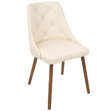 Giovanni Mid-Century Modern Dining Chair in Walnut and Cream Quilted PU