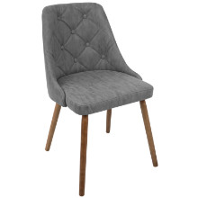 Giovanni Mid-Century Modern Dining Chair in Walnut and Grey Quilted PU