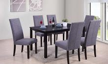 Glenda-7PC 7 pc Latitude run cliett espresso finish wood grey fabric chairs dining table set