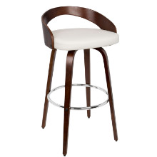 Grotto Mid-century Modern Barstool with Swivel in Cherry and White