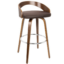 Grotto Mid-century Modern Barstool with Swivel in Walnut and Brown
