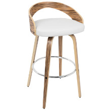 Grotto Mid-Century Modern Barstool in Zebra Wood and White PU