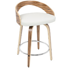 Grotto Mid-Century Modern Counter Stool in Zebra Wood and White PU