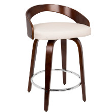 Grotto Mid-Century Modern Counter Stool with Walnut Wood and White PU Leather