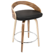 Grotto Mid-Century Modern Counter Stool in Zebra Wood and Black PU