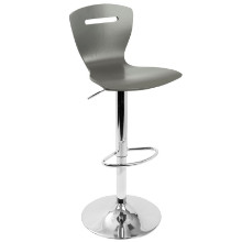 H2 Adjustable Contemporary Barstool in Grey Wood