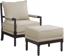 Best Master HL30 2 pc West palm solid wood living room accent chair and ottoman in Beige fabric and espresso wood