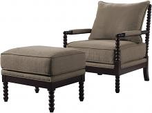 Best Master HL31-2PC 2 pc West palm solid wood living room accent chair and ottoman in taupe fabric and espresso wood