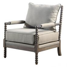 Best Master HL35  West palm solid wood living room accent chair taupe fabric and antique brown finish wood