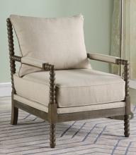 Best Master HL36  West palm solid wood living room accent chair beige fabric and antique brown finish wood