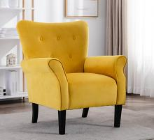 Homelegance HM1177YW Red barrel studio karrell mid century modern yellow fabric accent wing back chair