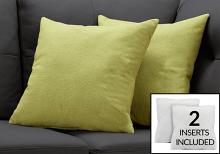 """PILLOW - 18""""X 18"""" / PATTERNED LIME GREEN / 2PCS"""