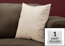 """PILLOW - 18""""X 18"""" / LIGHT TAUPE FEATHERED VELVET / 1PC"""