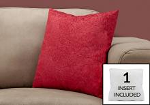 """PILLOW - 18""""X 18"""" / RED FEATHERED VELVET / 1PC"""