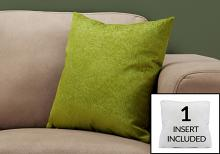 """PILLOW - 18""""X 18"""" / LIME GREEN FEATHERED VELVET / 1PC"""