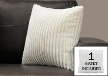 """PILLOW - 18""""X 18"""" / IVORY ULTRA SOFT RIBBED STYLE / 1PC"""