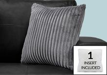 """PILLOW - 18""""X 18"""" / GREY ULTRA SOFT RIBBED STYLE / 1PC"""