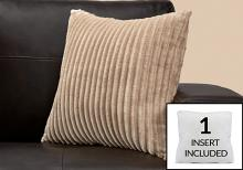 """PILLOW - 18""""X 18"""" / BEIGE ULTRA SOFT RIBBED STYLE / 1PC"""