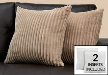 """PILLOW - 18""""X 18"""" / BEIGE ULTRA SOFT RIBBED STYLE / 2PCS"""