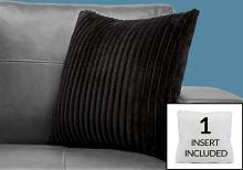 """PILLOW - 18""""X 18"""" / BLACK ULTRA SOFT RIBBED STYLE / 1PC"""