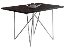"DINING TABLE - 32""X 48"" CAPPUCCINO CHROME METAL"