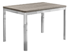 "DINING TABLE - 32""X 48"" DARK TAUPE CHROME METAL"