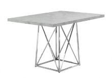 "DINING TABLE - 36""X 48"" GREY CEMENT CHROME METAL"