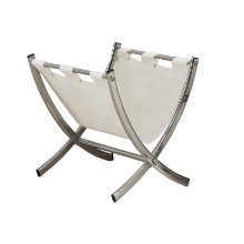 MAGAZINE RACK - WHITE LEATHER-LOOK CHROME METAL