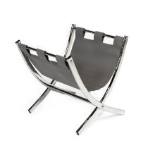 MAGAZINE RACK - GREY LEATHER-LOOK CHROME METAL